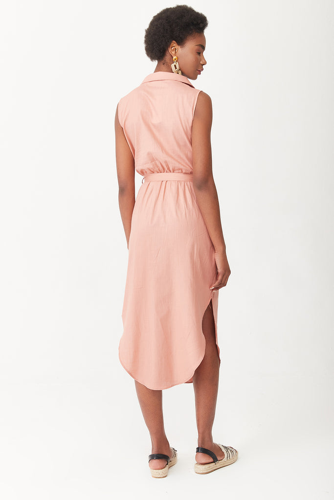 Sleeveless Cache Coeur Dress-Salmon Color