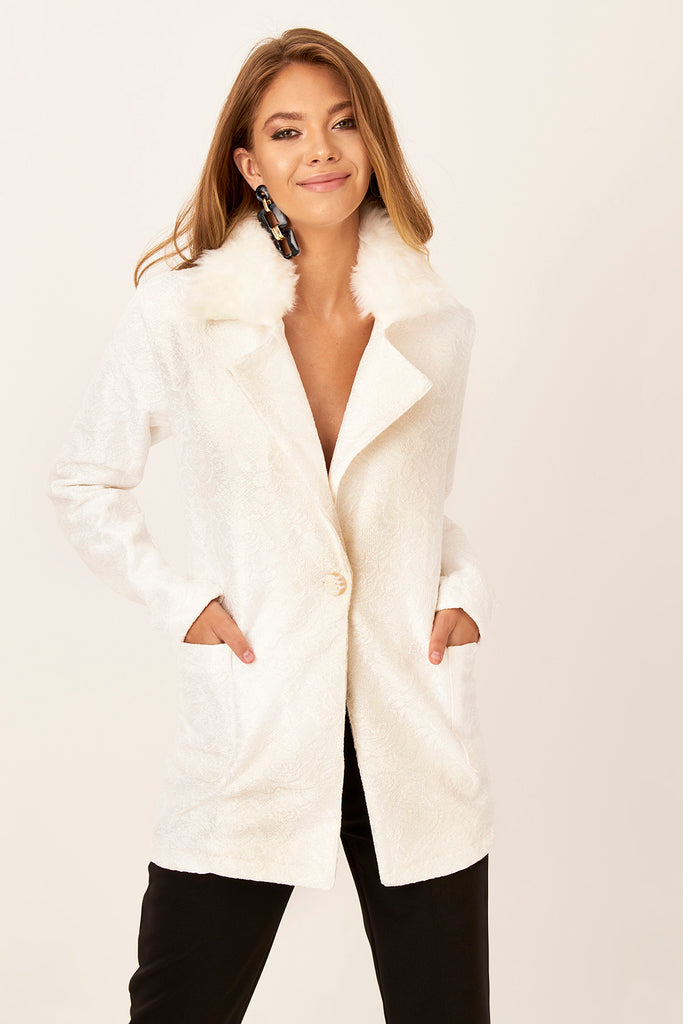Neck Fur Detail Jacket White