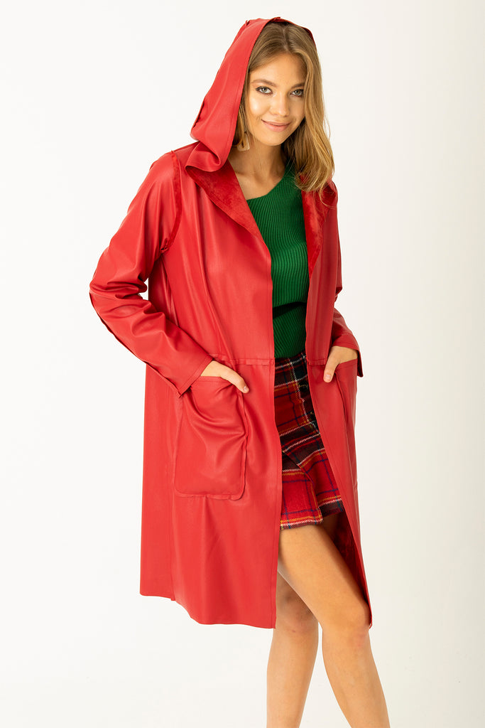 Two Way Leather Nubuck Coat Claret Red