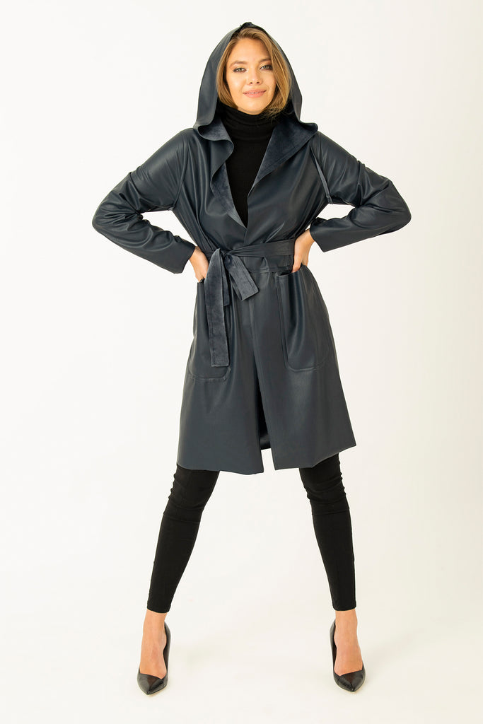 Two Way Leather Nubuck Coat Navy Blue