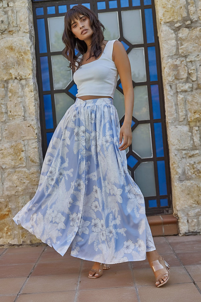 Flower Patterned Front Button Skirt-Blue