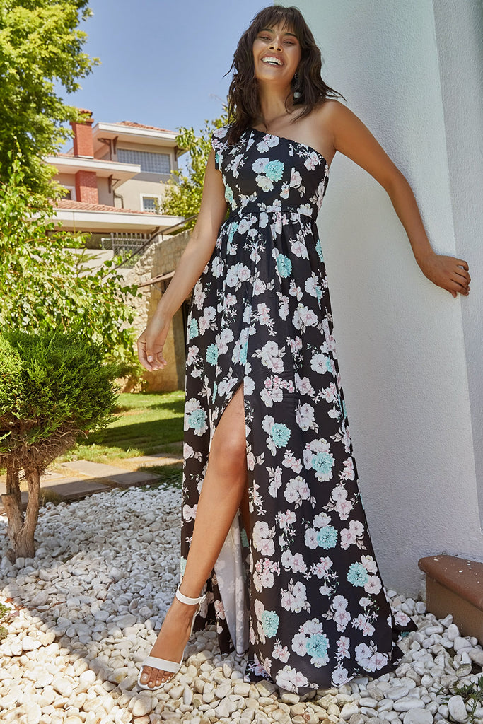 Halter Neck Flower Patterned Dress-Black