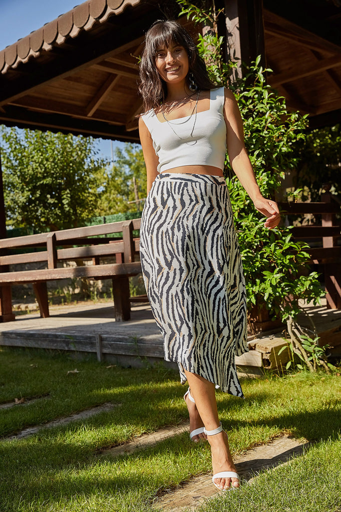 Zebra Patterned Asymmetric Cut Skirt-Zebra