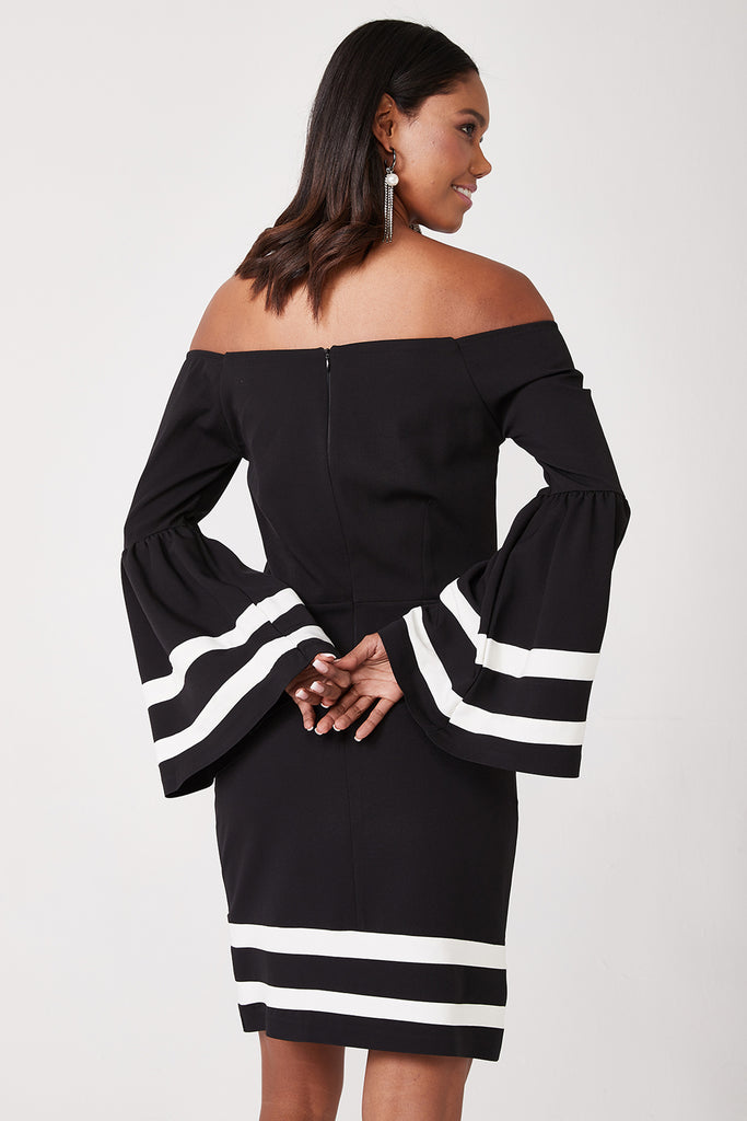 Weetheart Neckline Long Flare Sleeve Skirt and Sleeve Dress