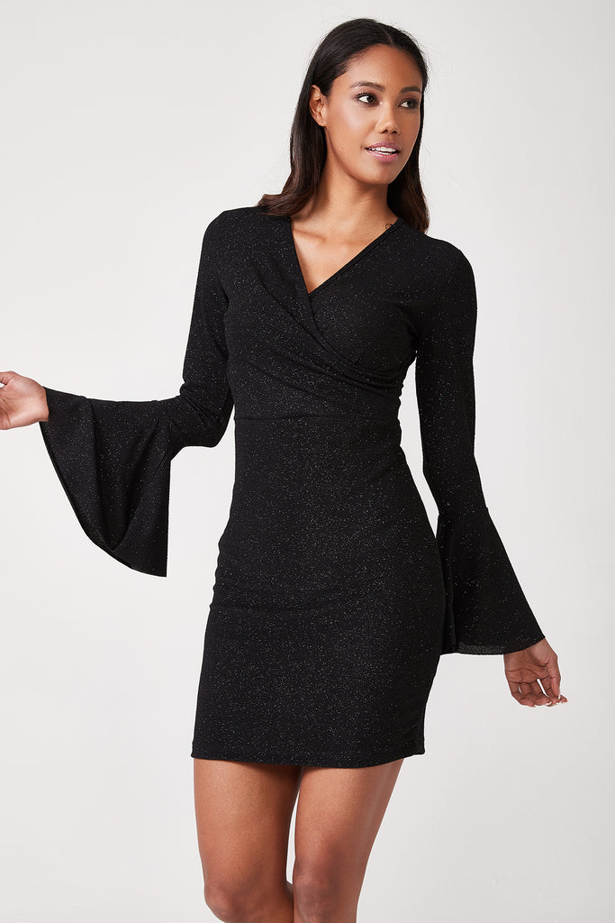 Sleeve Flare Cache Coeur Dress