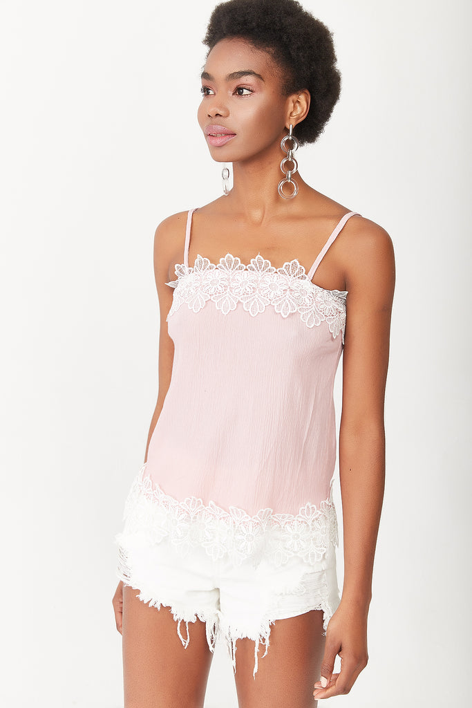 STRAPPY LACE DETAIL BUSTIERE-POWDER