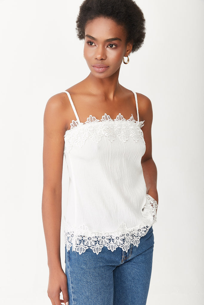 STRAPPY LACE DETAIL BUSTIERE-WHITE