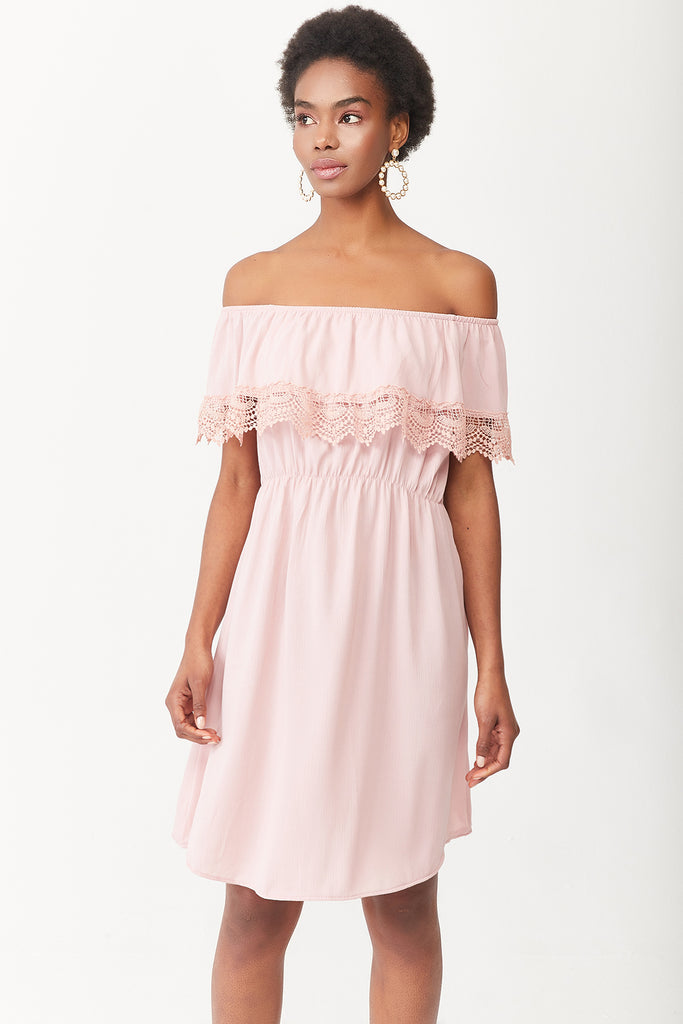 OPEN SHOULDER LACE DETAIL DRESS-SALMON