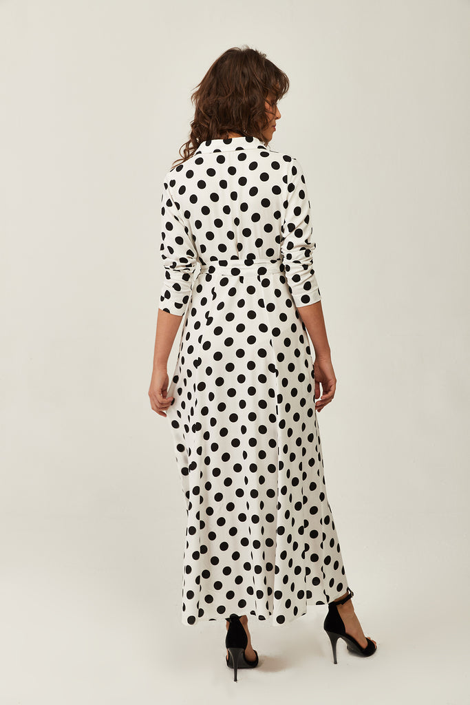 Shirt Neck Long Sleeve Spotted Dress-White