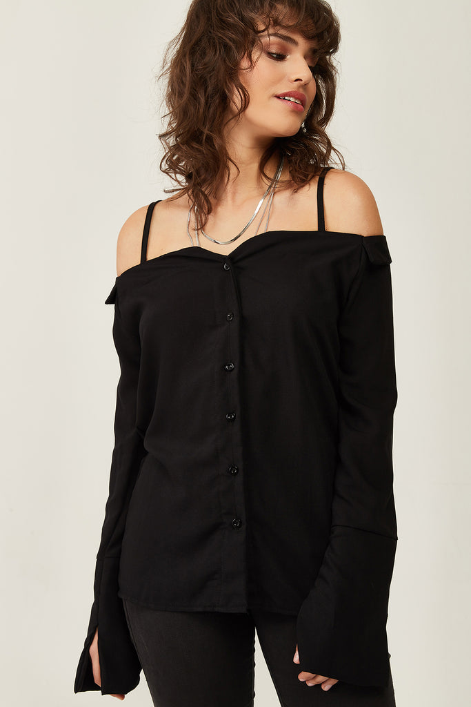 Strappy Buttoned Bluose-Black