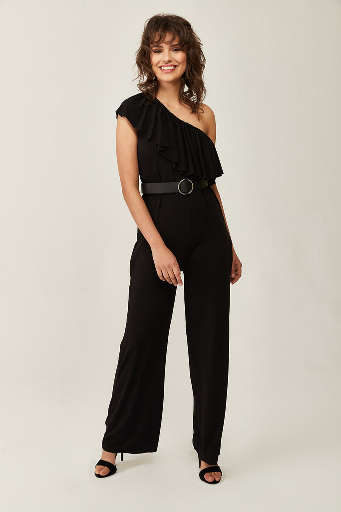 Only Shoulder Open Jump Suit-Black