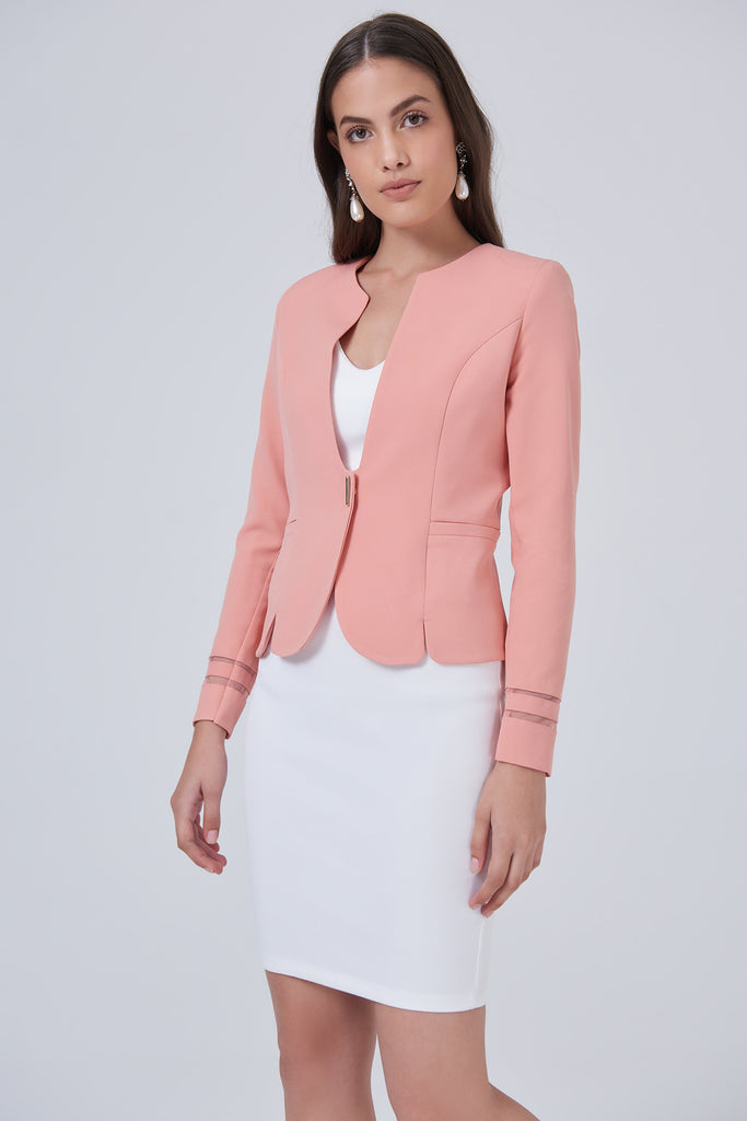 Tulle Detail Long Sleeve Button With Lining Jacket