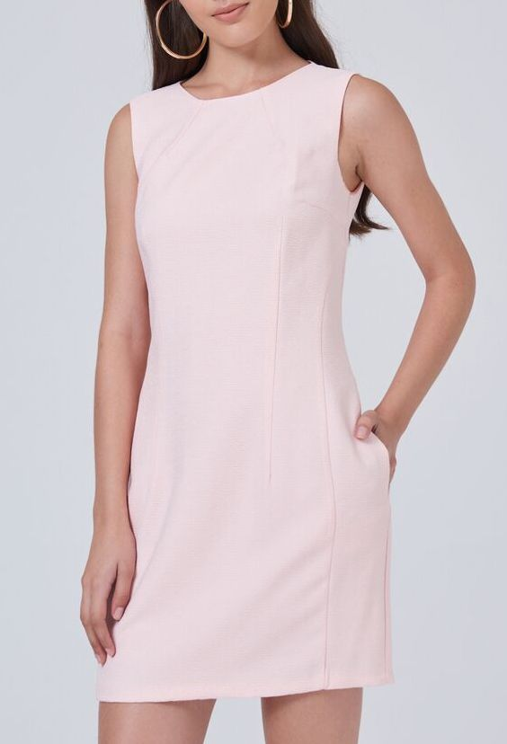 Sleeveless Crew Neck Powder Dress