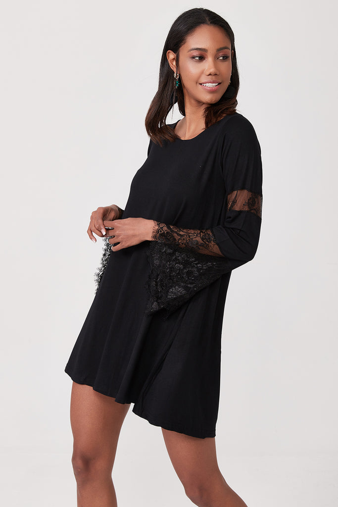 Crew Neck Lace Detail Sleeve Mini Dress