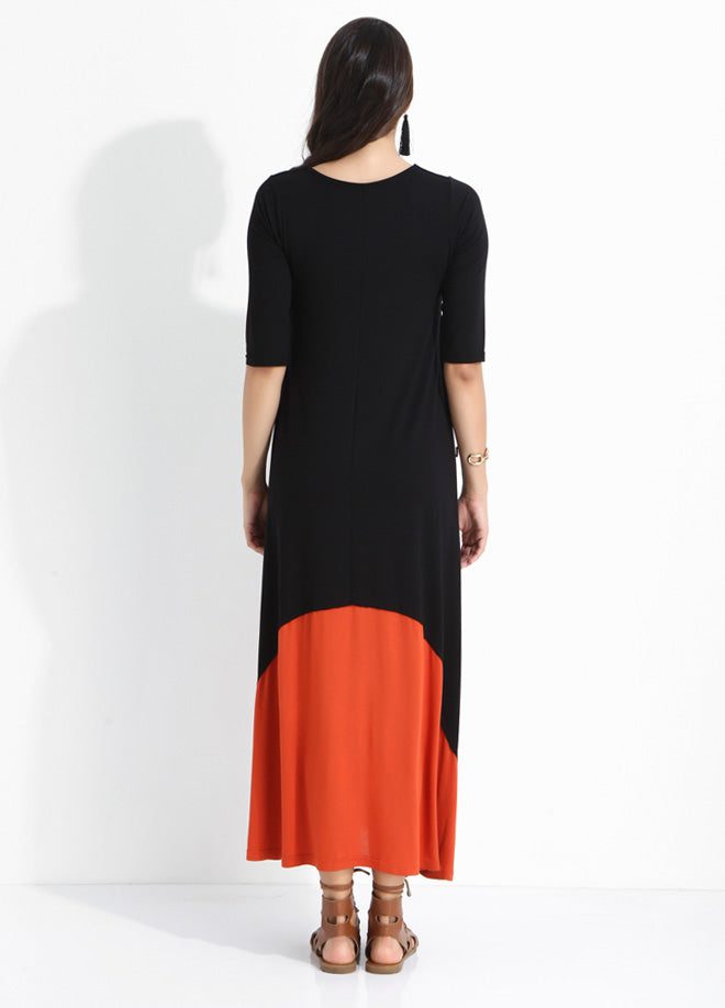 Crew Neck 2 Color Long Dress
