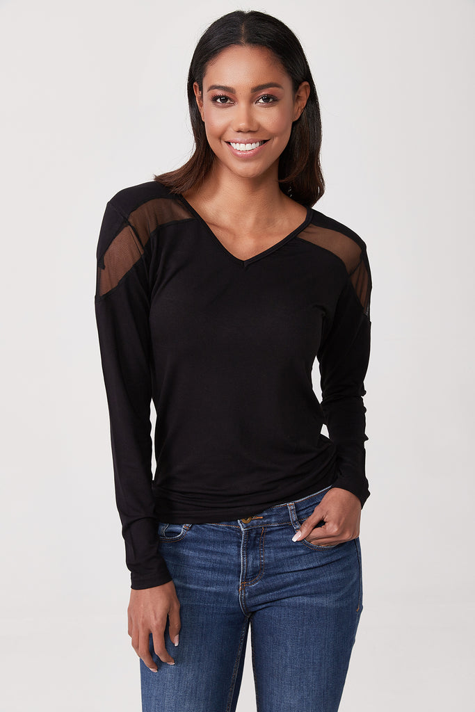V Neck Tulle Detail Blouse