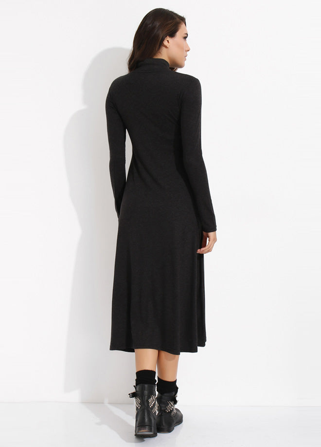 Half Turtleneck 2 Color Midi Dress