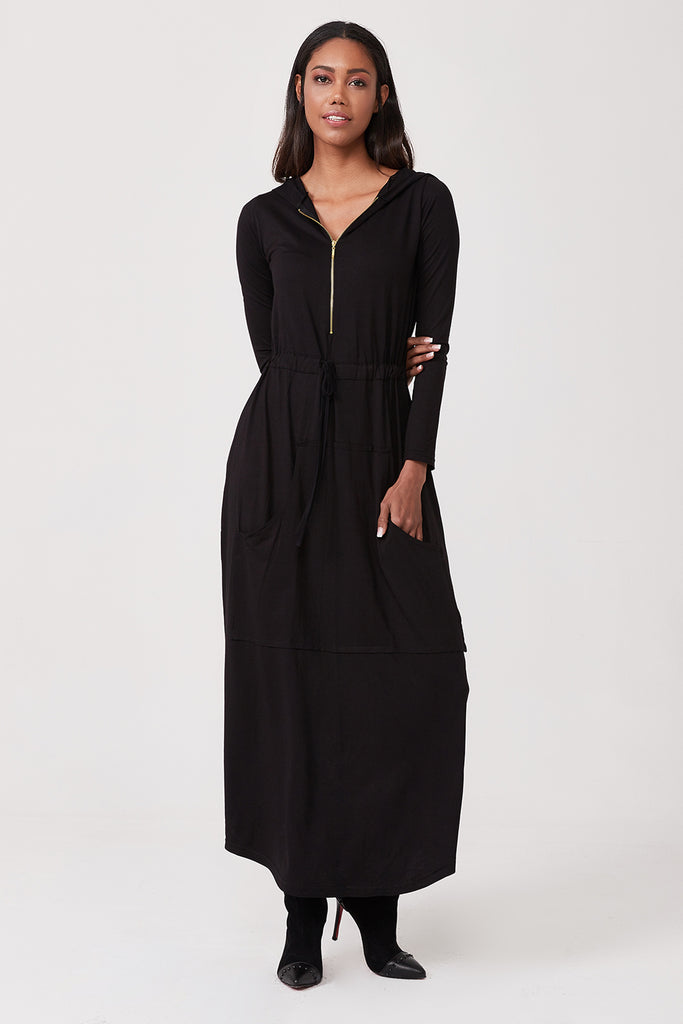 Hooded Front Zip & Pocket Long Dress