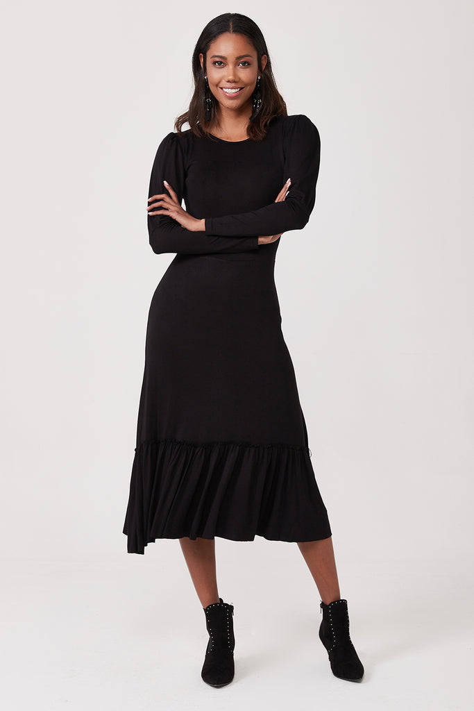 Crew Neck Ruffle Hemline Midi Dress