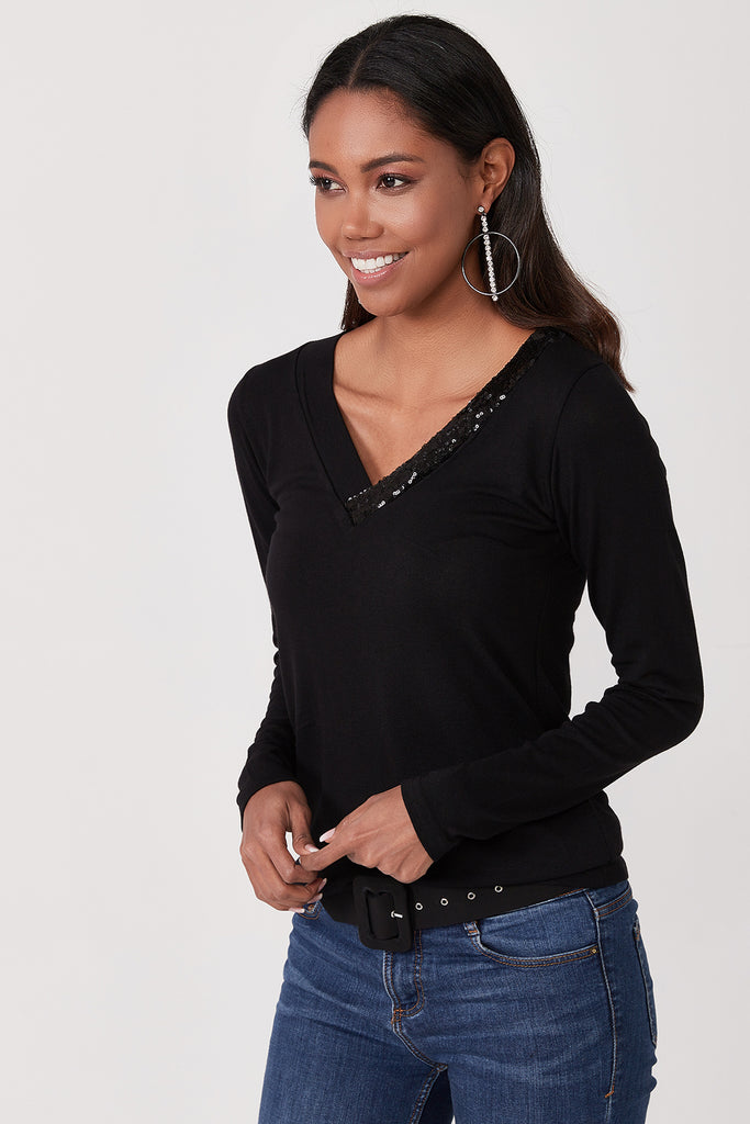 V Neck Sequin Detail Blouse