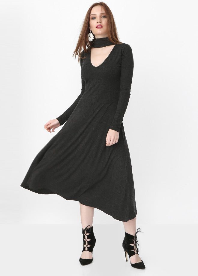 Collar Detail Midi Dress