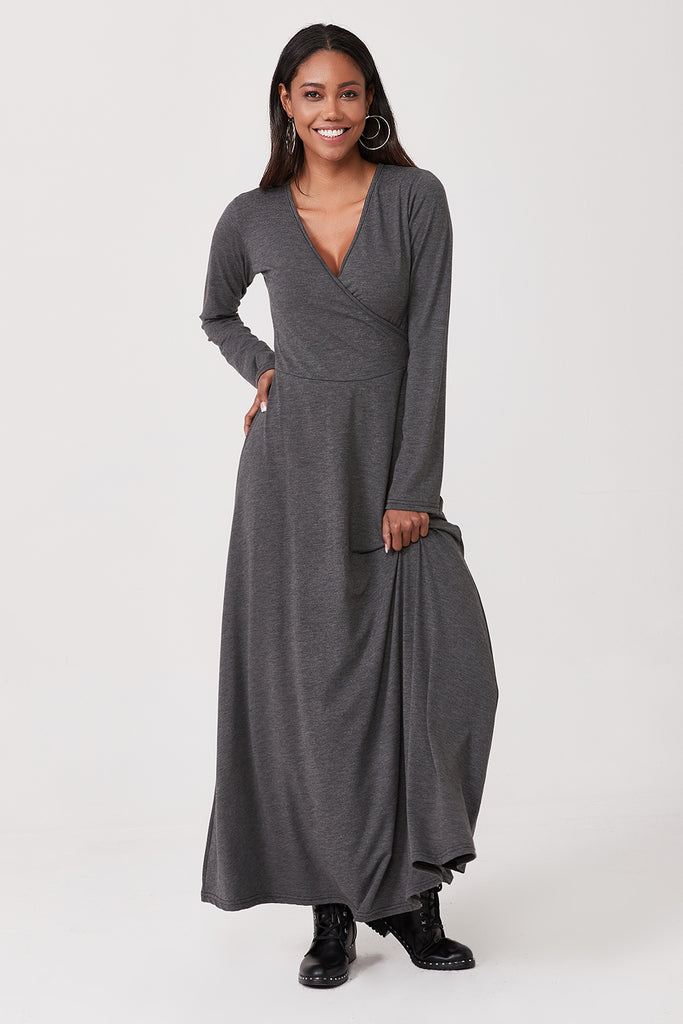 Dp6-5 Kruvaze Neck Long Sleeve Dress