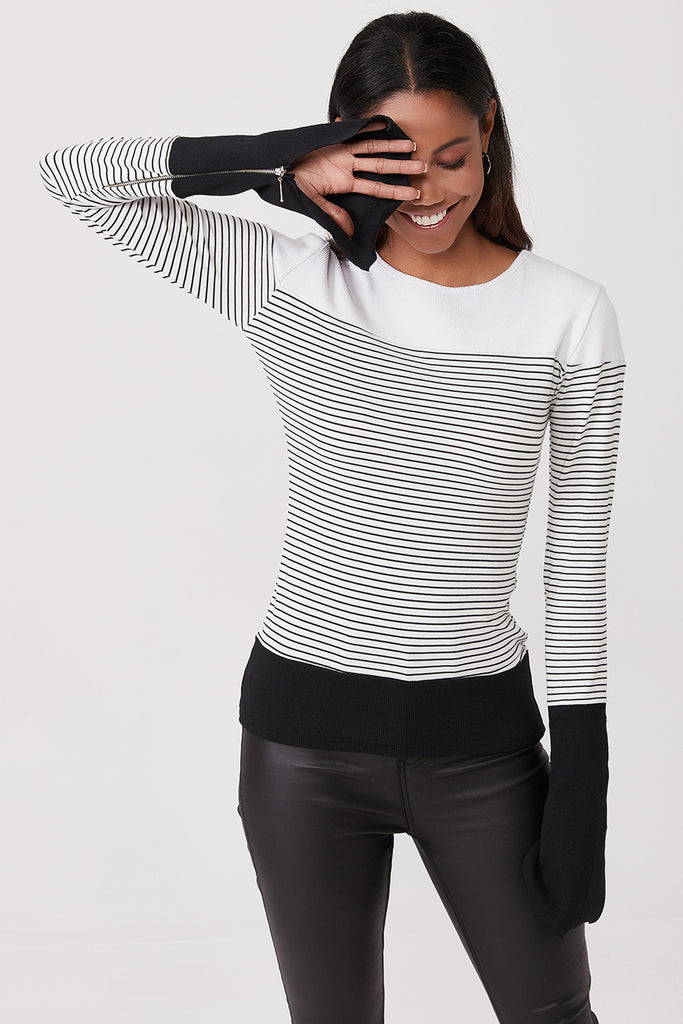 Crew Neck Flare Sleeve 3 Part Blouse