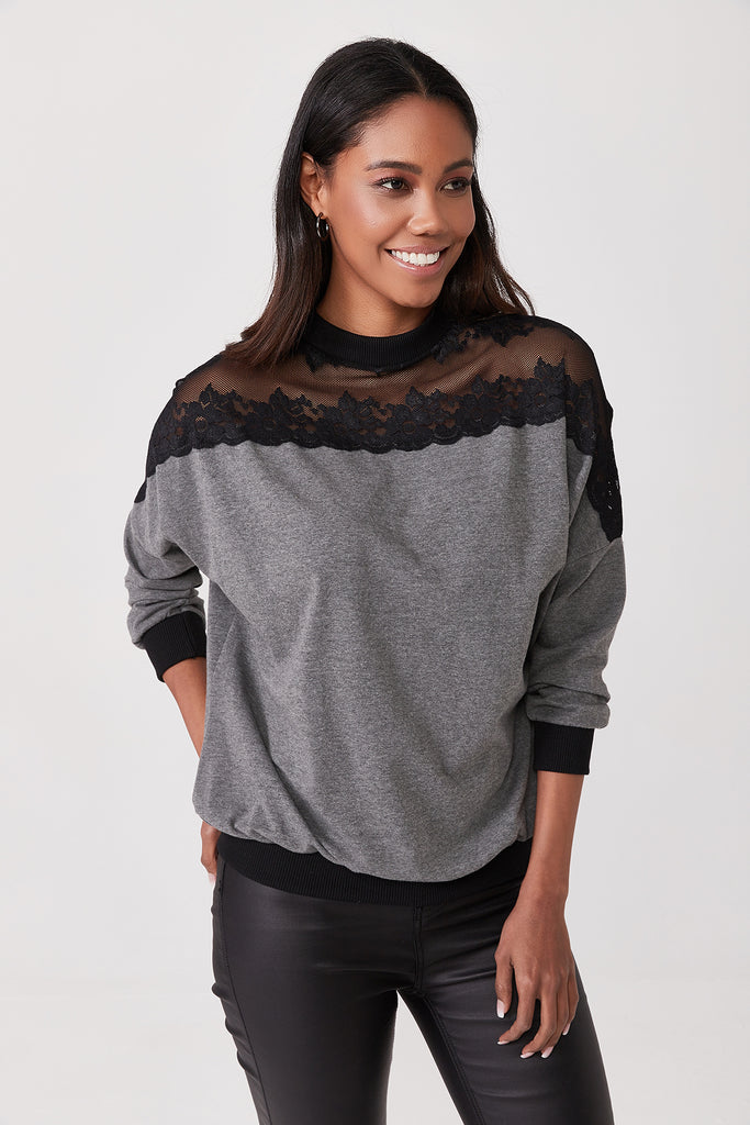 Crew Neck Tulle Detail Blouse