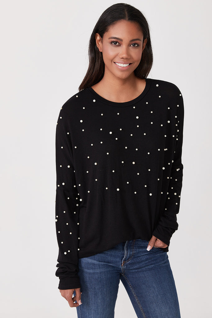 Crew Neck Pearl Detail Blouse