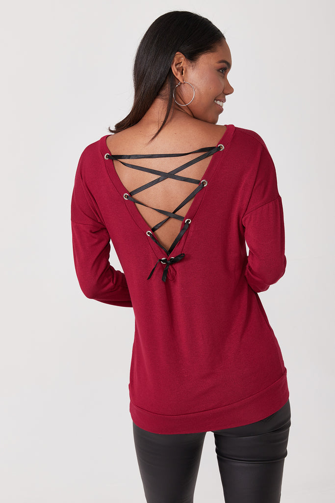 Back Lace Up Detail Blouse