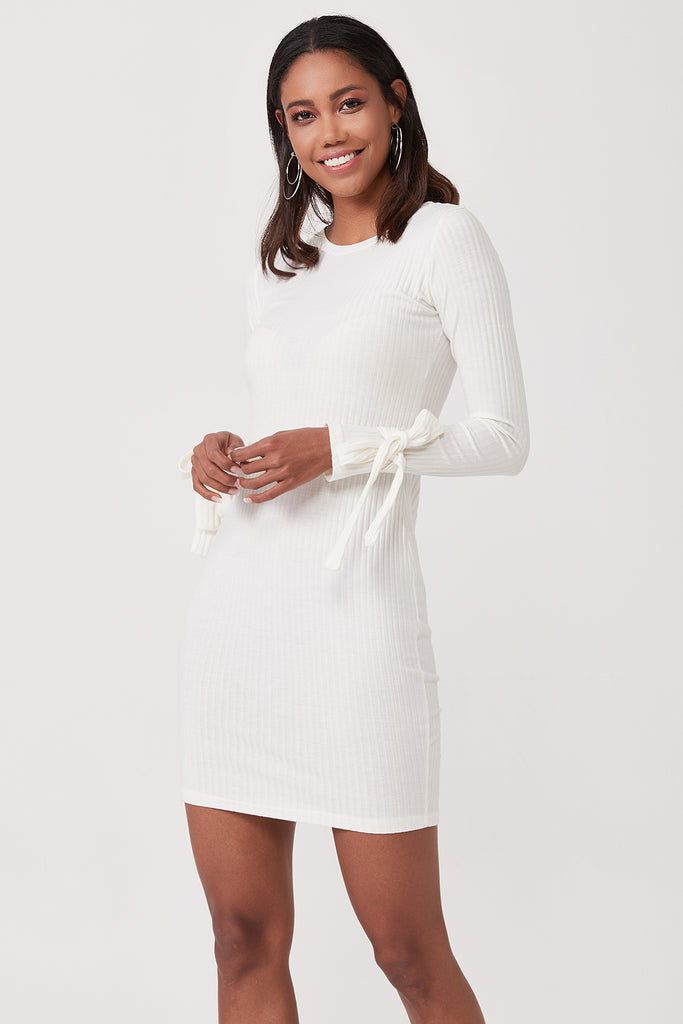 Crew Neck Tie Sleeve Mini Dress