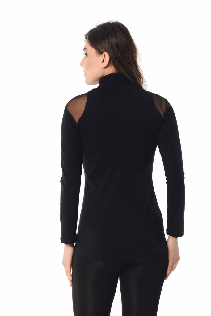Half Turtleneck Tulle Detail Blouse