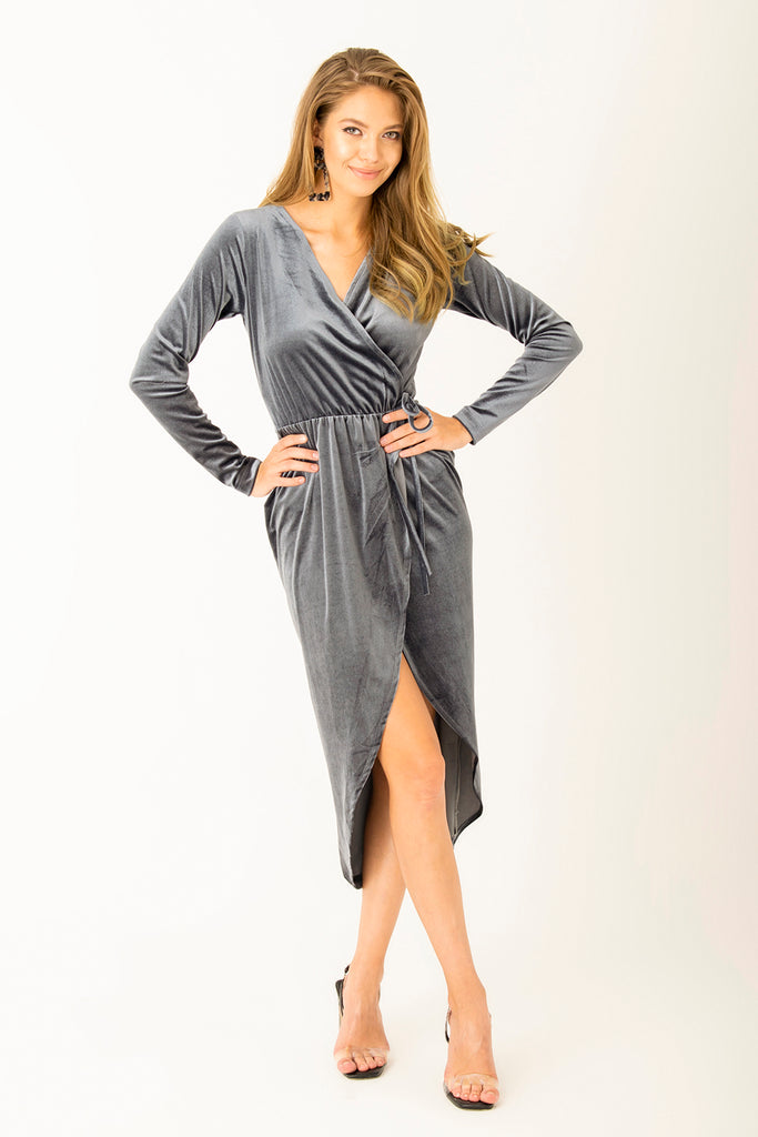 Front Slit Velvet Midi Dress Grey