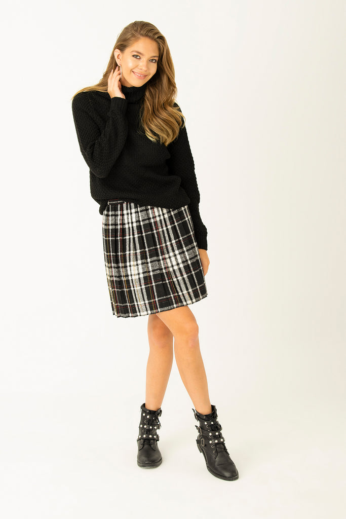 Checkred Plaid Skirt Black