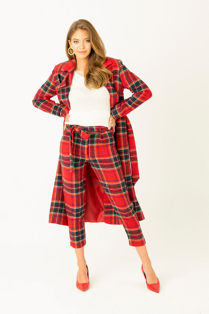 Check Patterned Belted Carrot Trousers Red