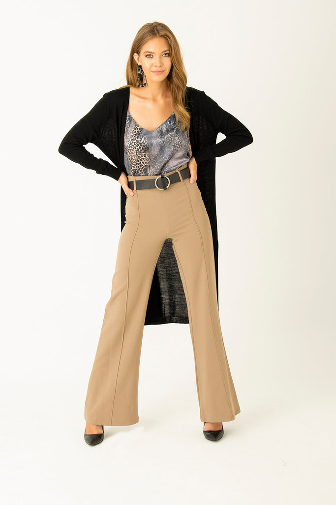 Front Highwaisted  Crape Pants Caramel