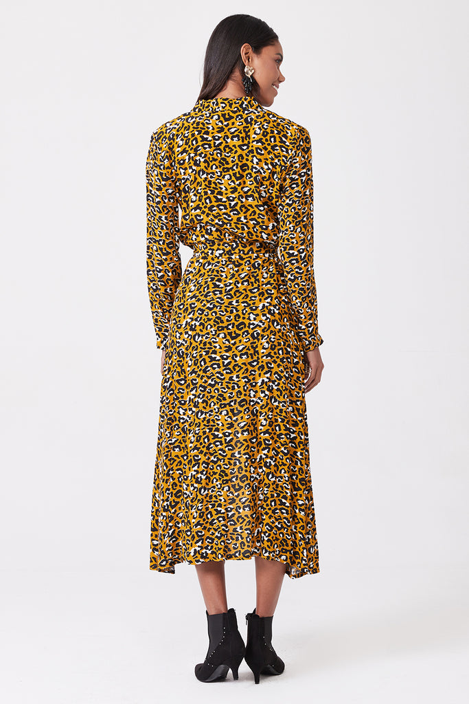 Belted Printed Long Dress