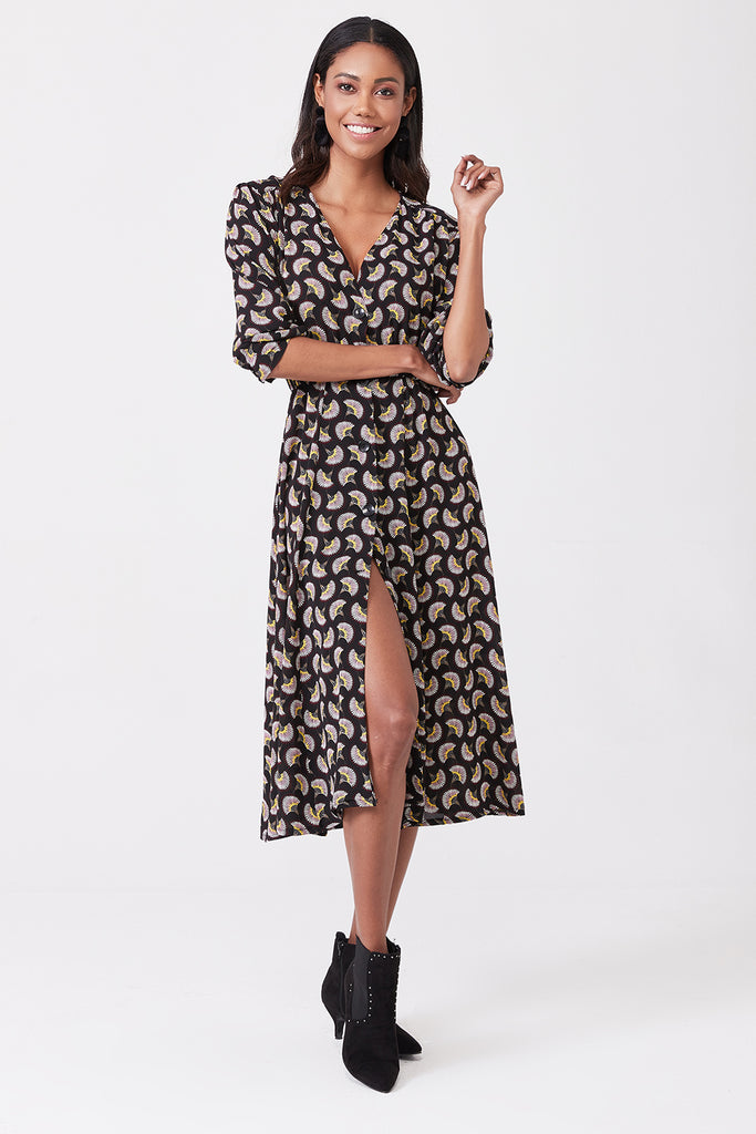 V Neck With Button Printed Midi Dress