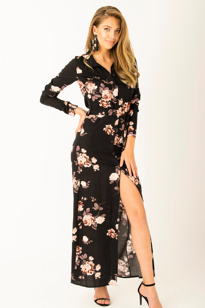 Floral Patterned Long Dress Flowers LNG