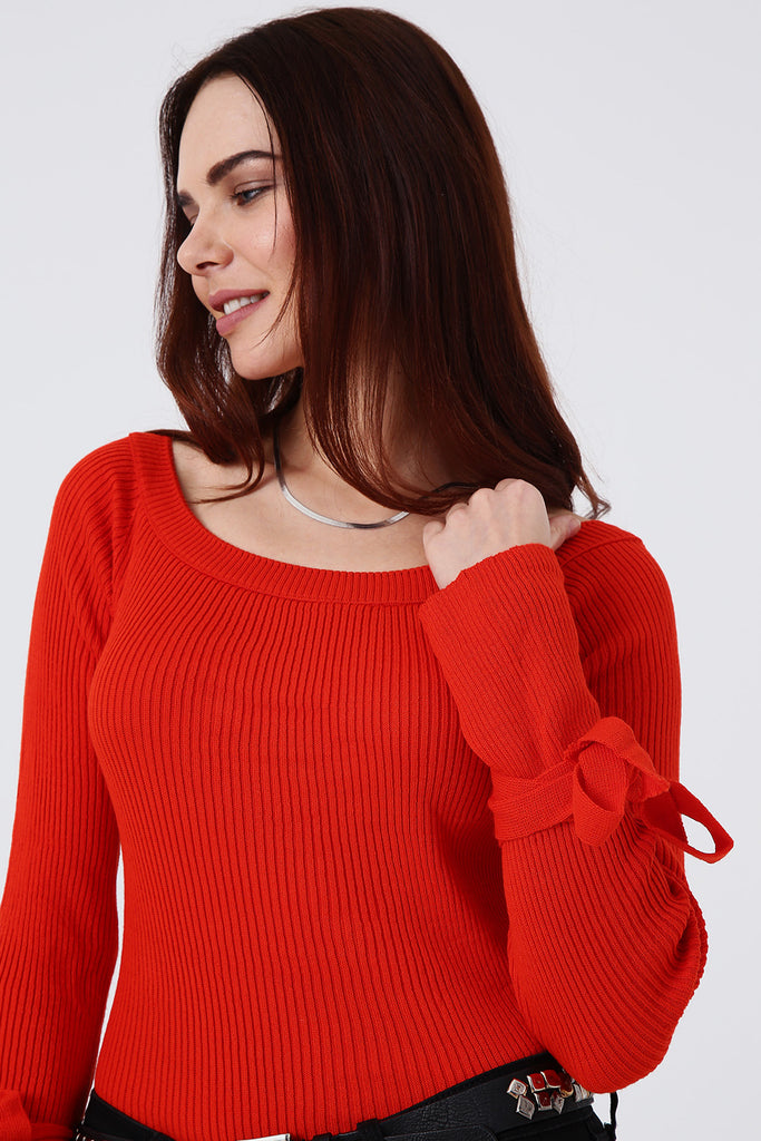 Boat Neck Wrap Sleeve Tricot
