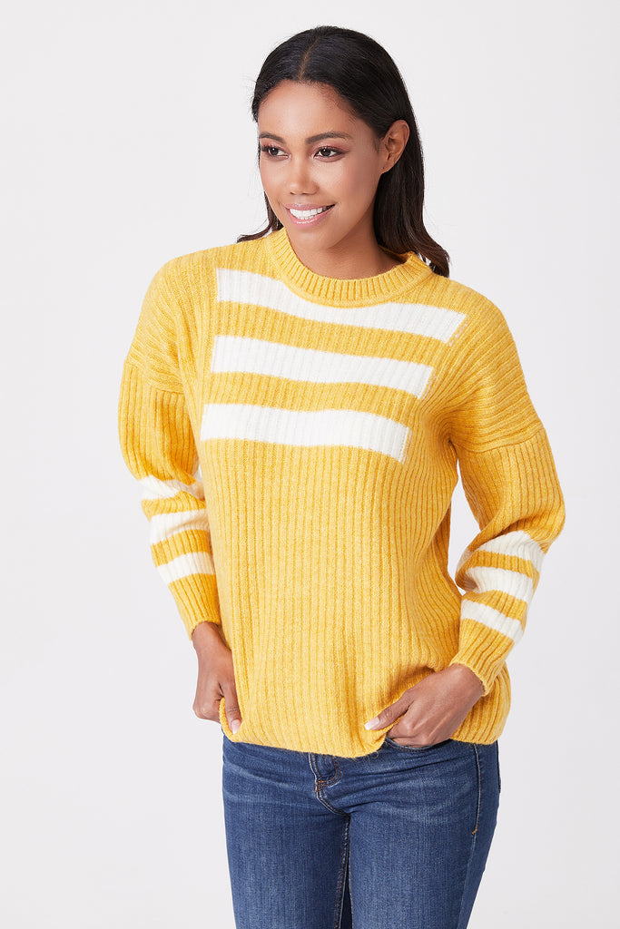 Crew Neck Stripe Detail Tricot