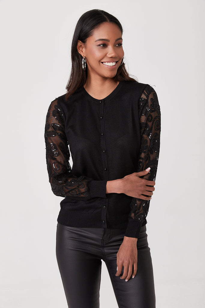 Crew Neck Front Button Net ant Sequin Detail Long Sleeve Tricot Cardigan