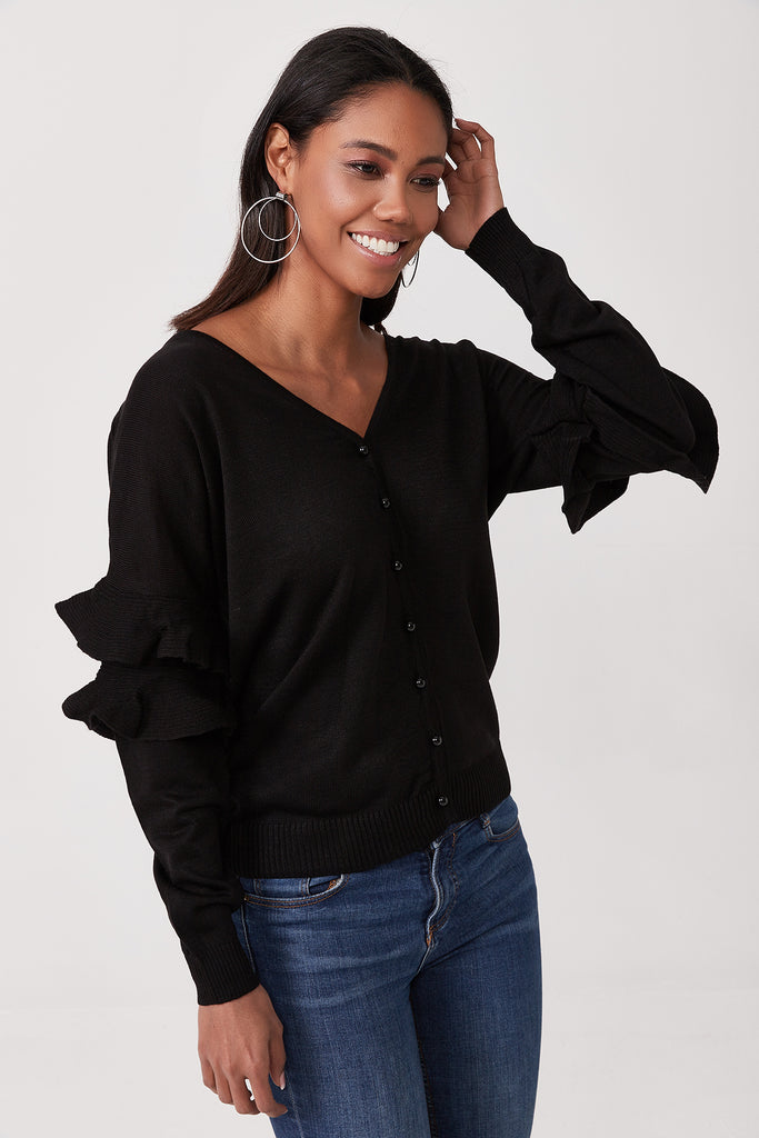 V Neck Front Button Sleeve Detail Cardigan