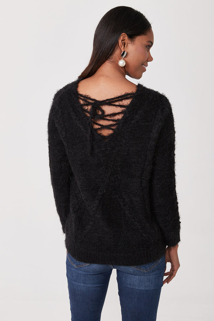 V Neck Lace Up Back Pearly Tricot