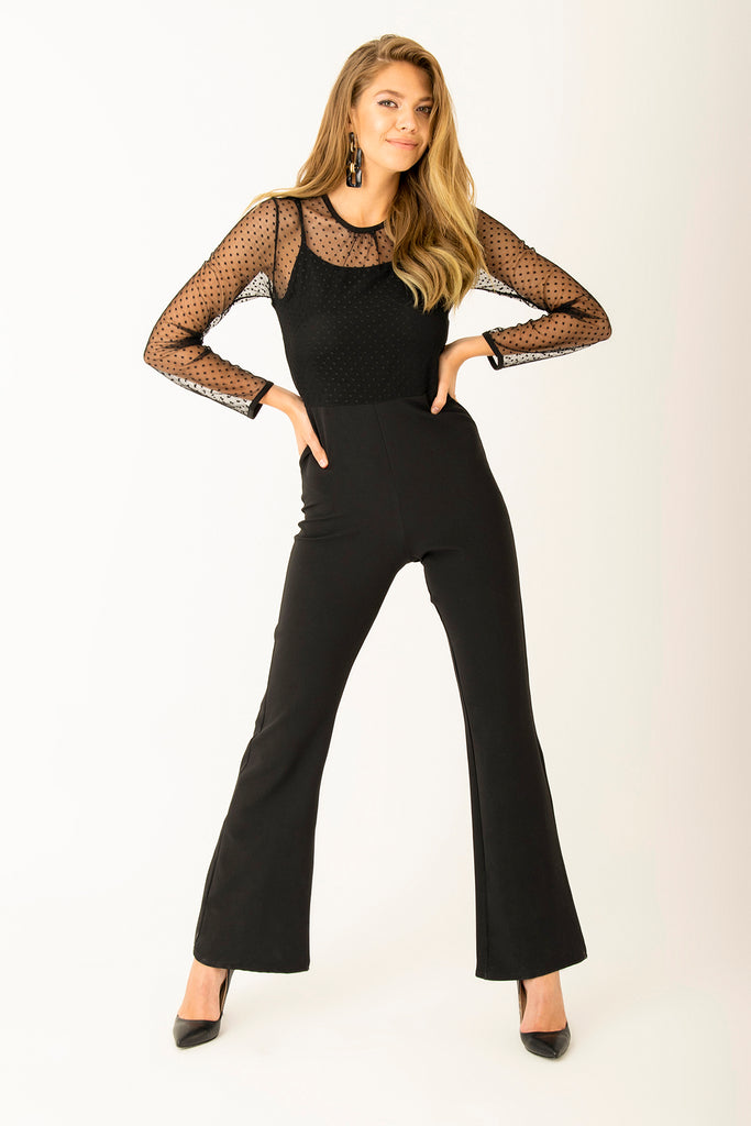 Tulle Detail Jumpsuit Black