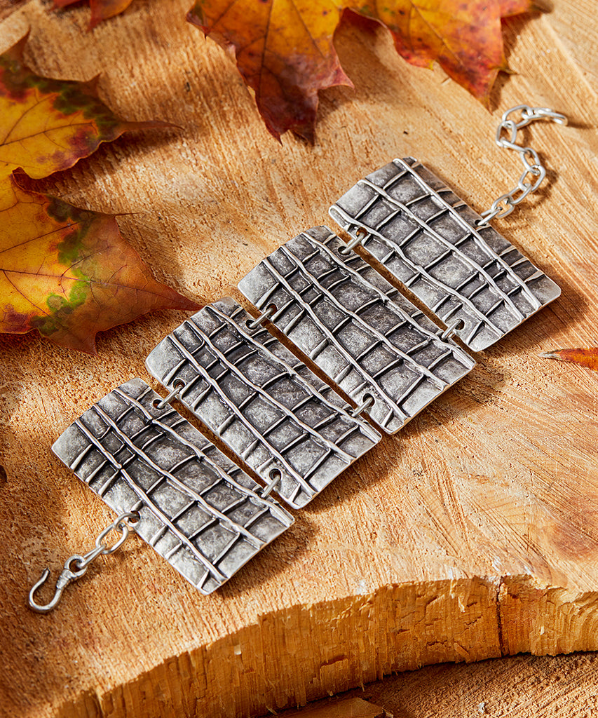 Silvertone-Plated Rectangular Etched Link Bracelet