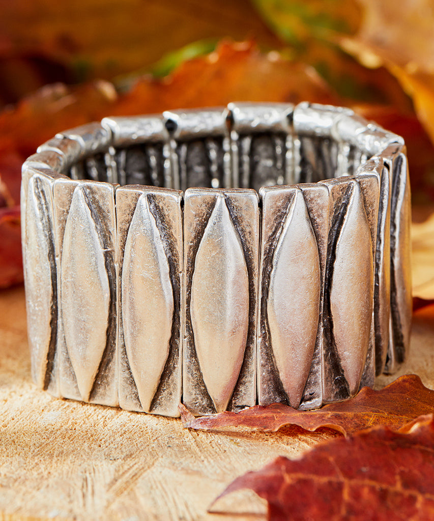 Silvertone Geometric Etched Bangle Bracelet