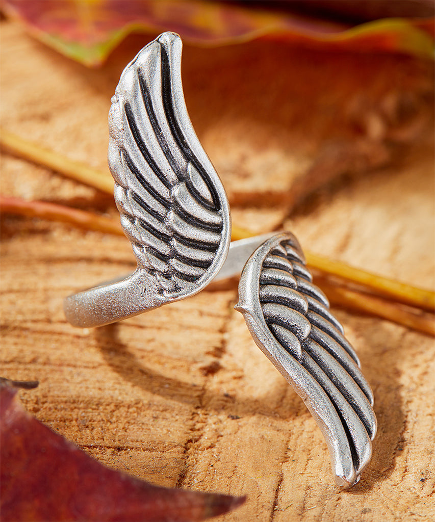 Silvertone-Plated Oxidized Wing Ring