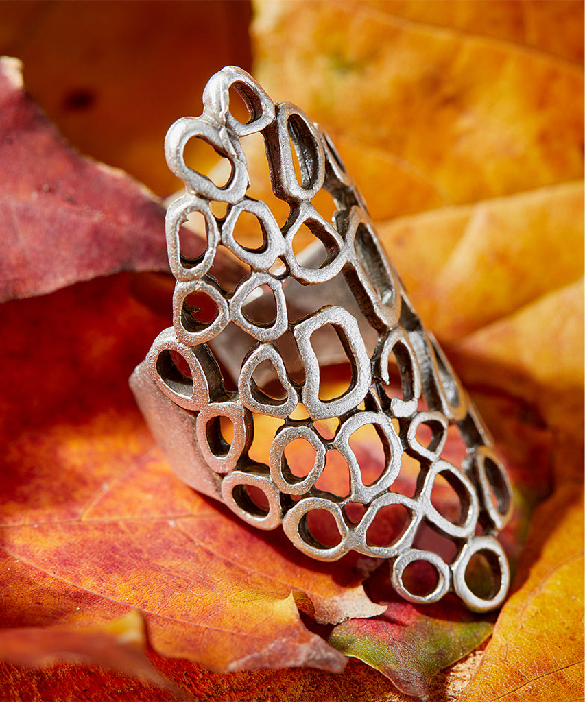 Silvertone-Plated Abstract Latticework Ring