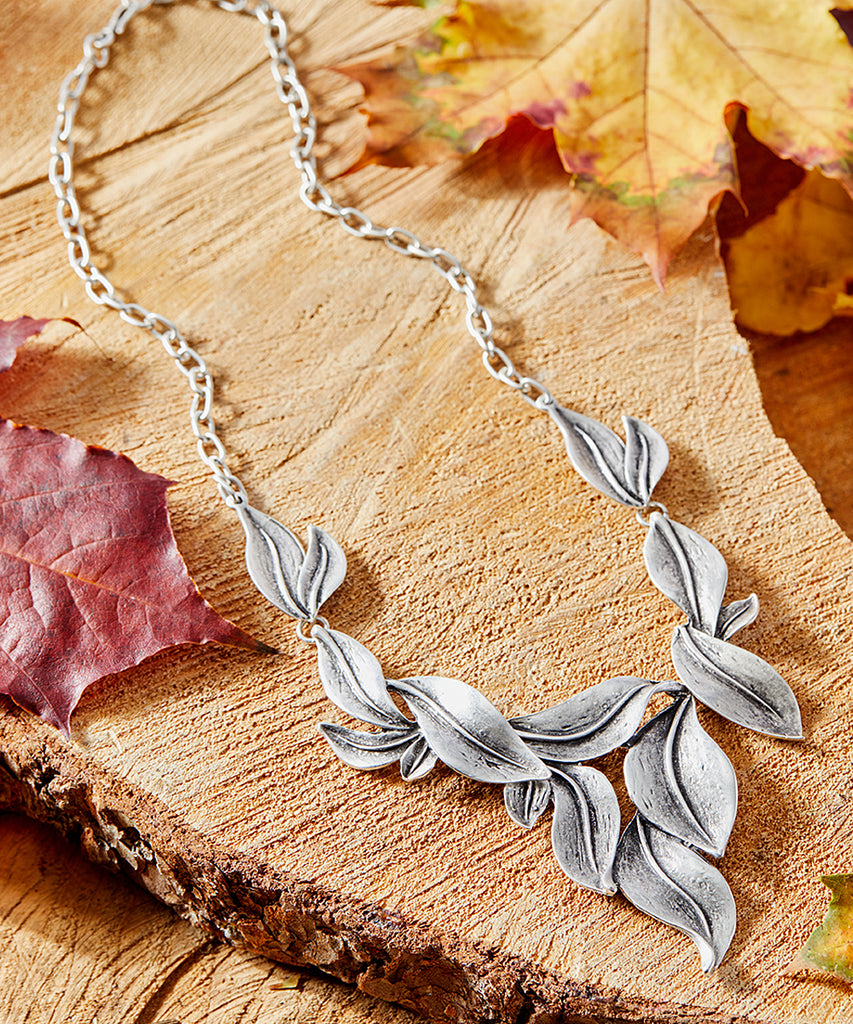 Silvertone-Plated Falling Leaf Statement Necklace